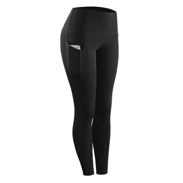 2019 High Elastic Leggings Pant Women Solid Stretch Compression Sportswear Casual Yoga jogging Leggings Pants with Pocket