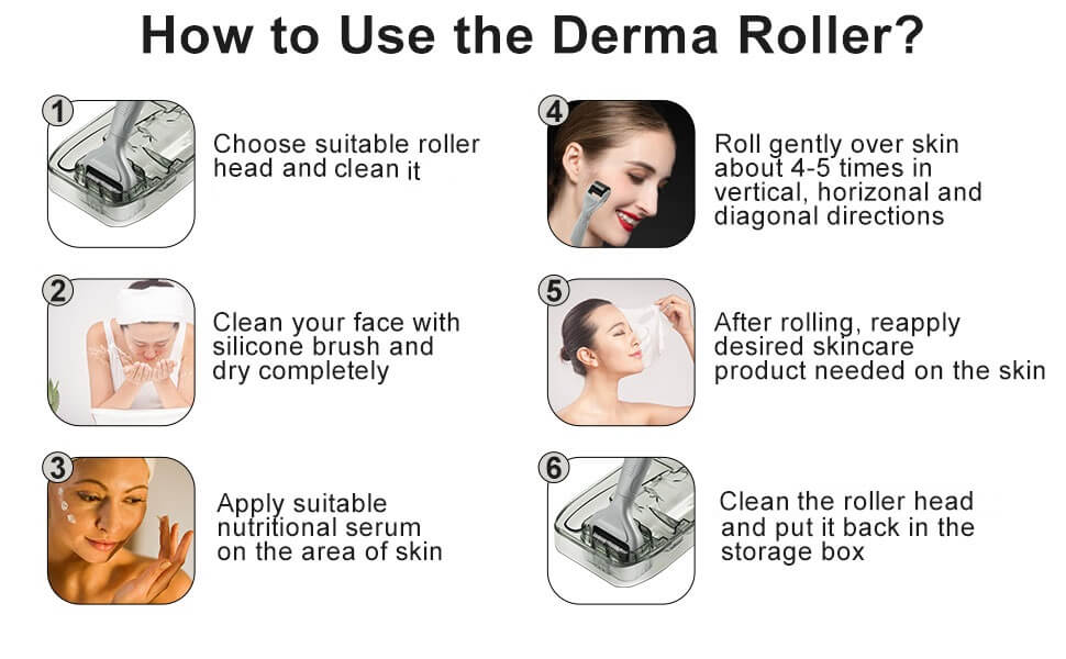 Steps for 6 in1 derma roller