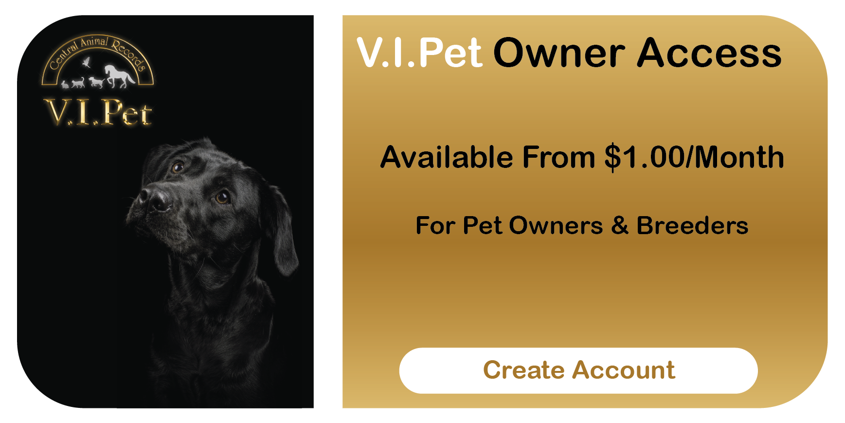 Central Animal Records Online Access Button - VIPet Pet Owners (Black Dog With Gold))