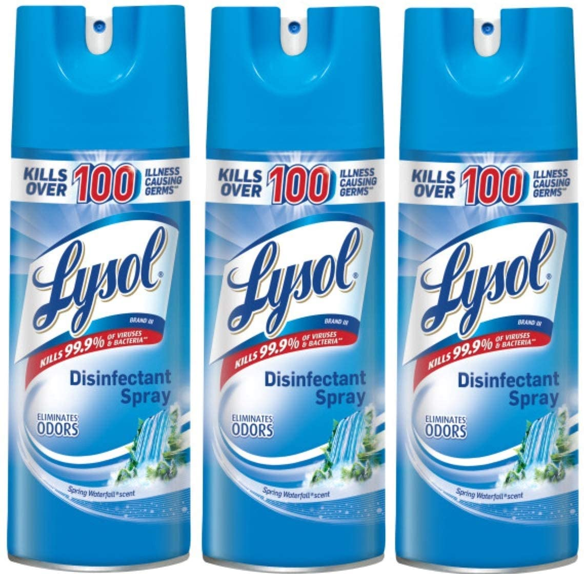 Lysol Disinfectant Spray, Spring Waterfall, 12.5 oz (Pack of 3) - Tns super store