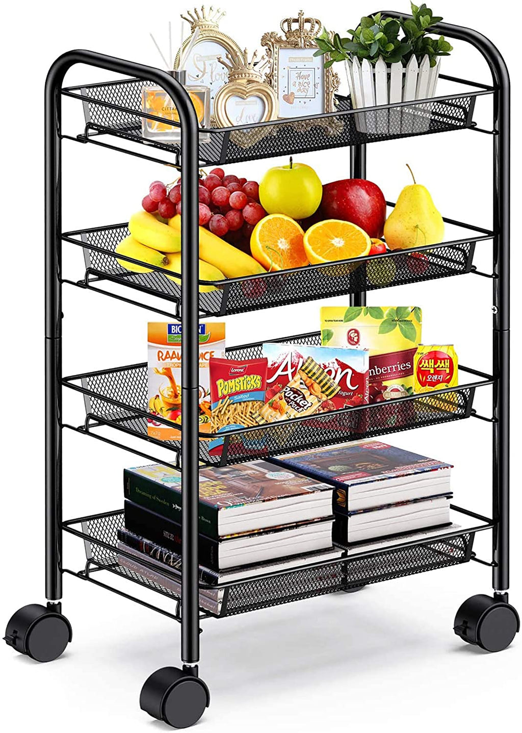 4-Tier Mesh Wire Rolling Cart Multifunction Utility Cart Metal Kitchen Storage Cart with 4 Wire Baskets Lockable Wheels for Home, Office, Kitchen by Pipishell (Black) - Tns super store