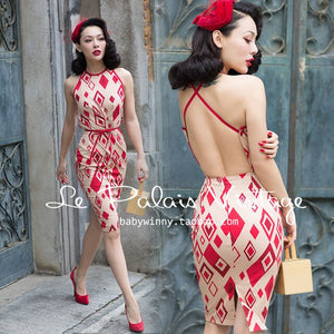 Open image in slideshow, Classic Hepburn Style Pin Up Dress