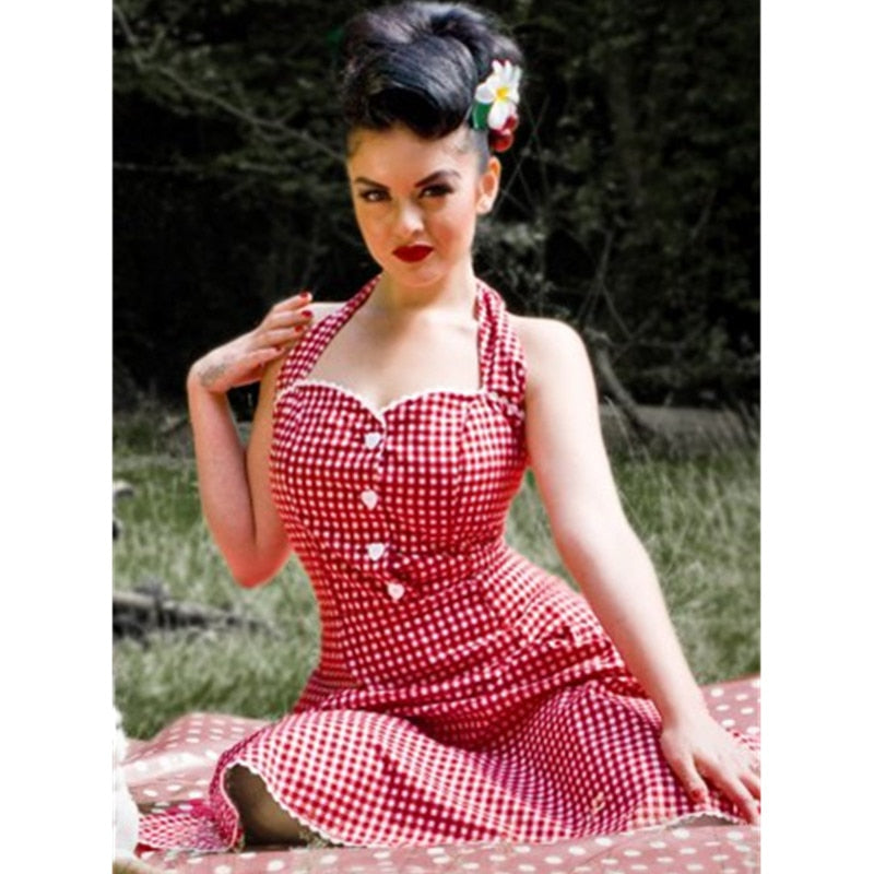 50's Style Swing Halter Pin Up Dress