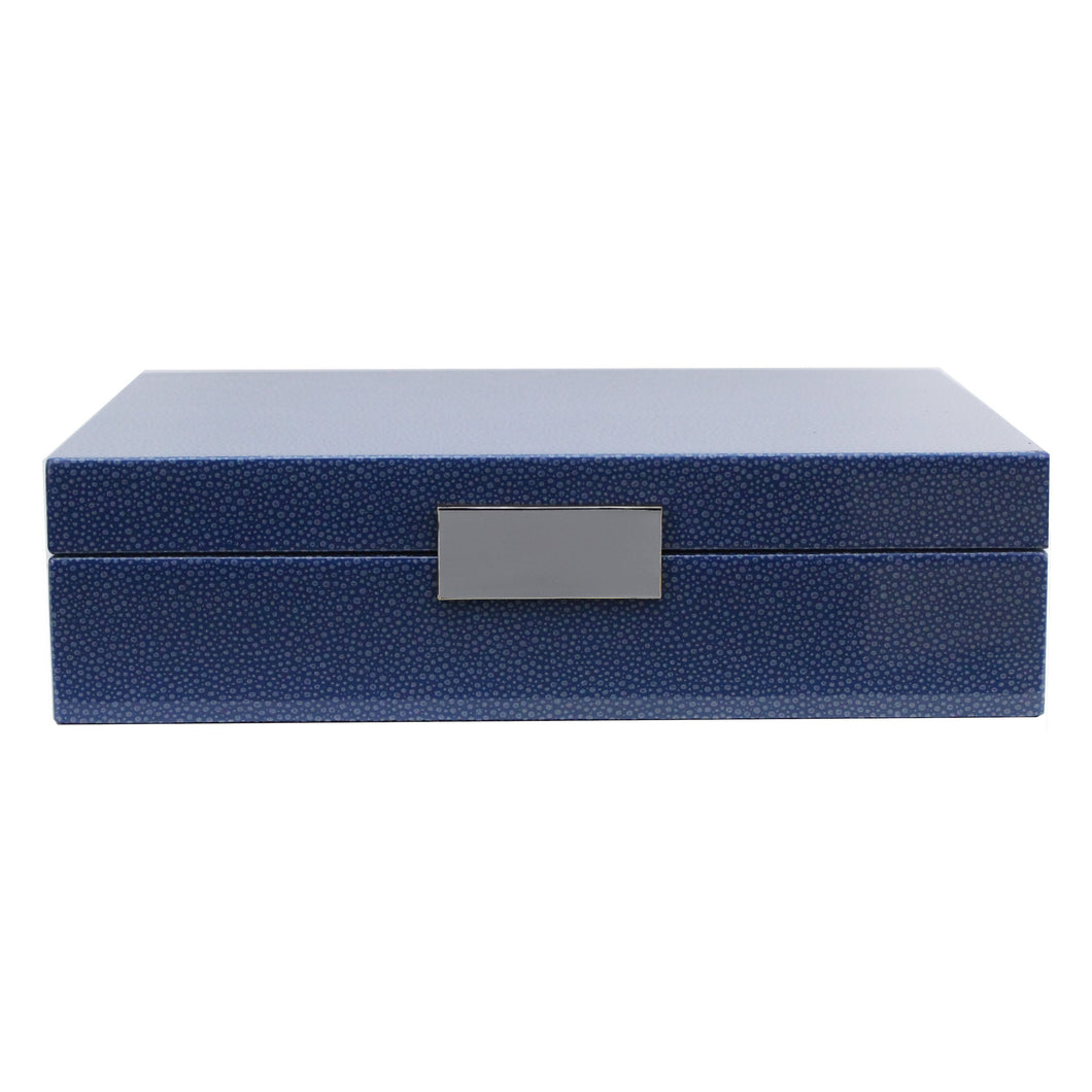Blue Shagreen Lacquered Box With Silver