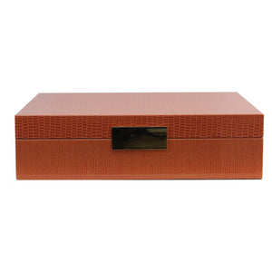 Orange Croc Lacquered Box With Gold
