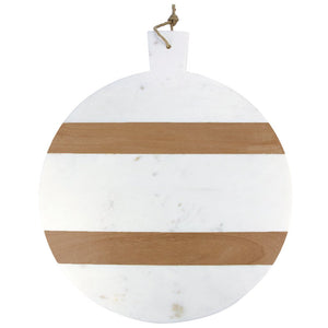 White Marble And Wood Stripe Round Board With Handle, XL