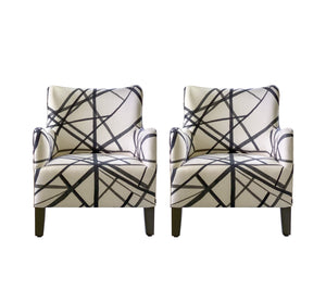 Lee Slipper Chair in Ebony/Ivory Channels, Pair