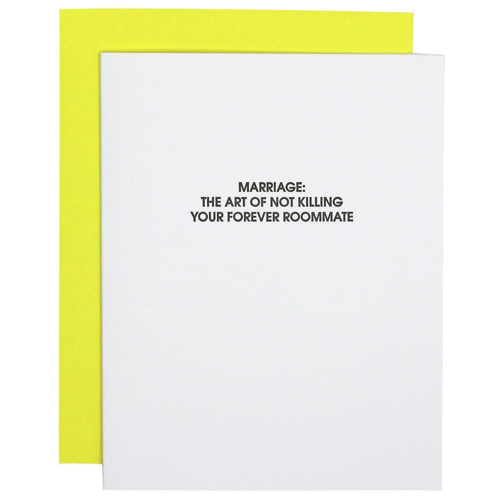 Marriage: Forever Roommate Letterpress Card