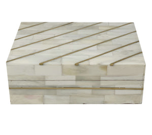 Diagonal Gold Stripe Bone Boxes
