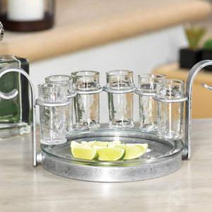 Silver Six Shot Tequila Set