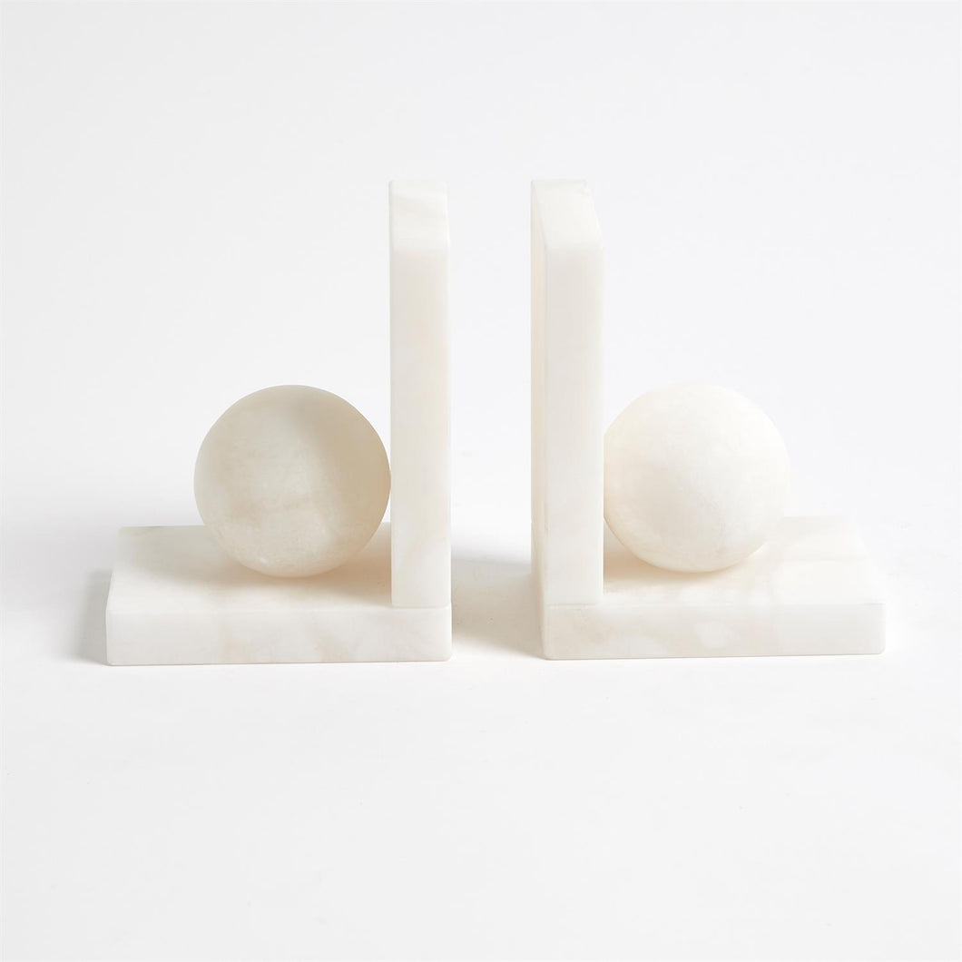 Alabaster Ball Bookends, Pair