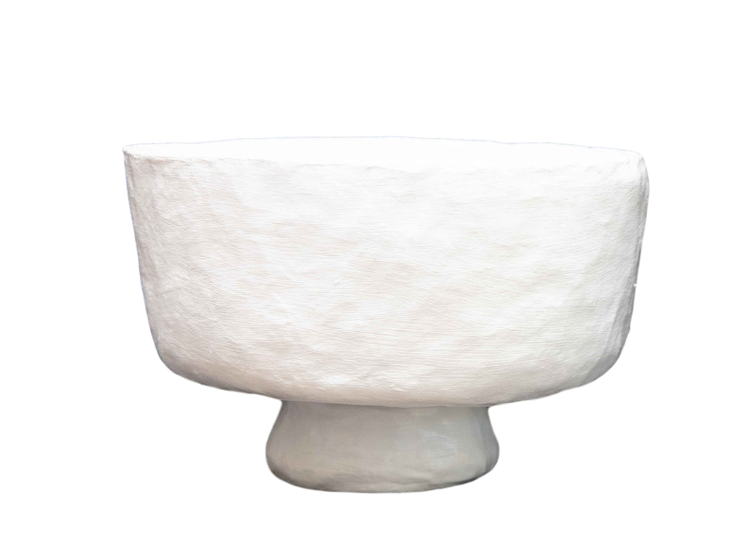 Large White Paper Mache Bowl
