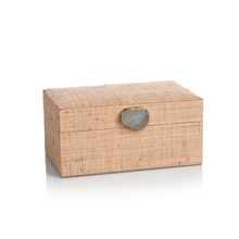 Load image into Gallery viewer, Blush Raffia Palm Box With Stone Accent