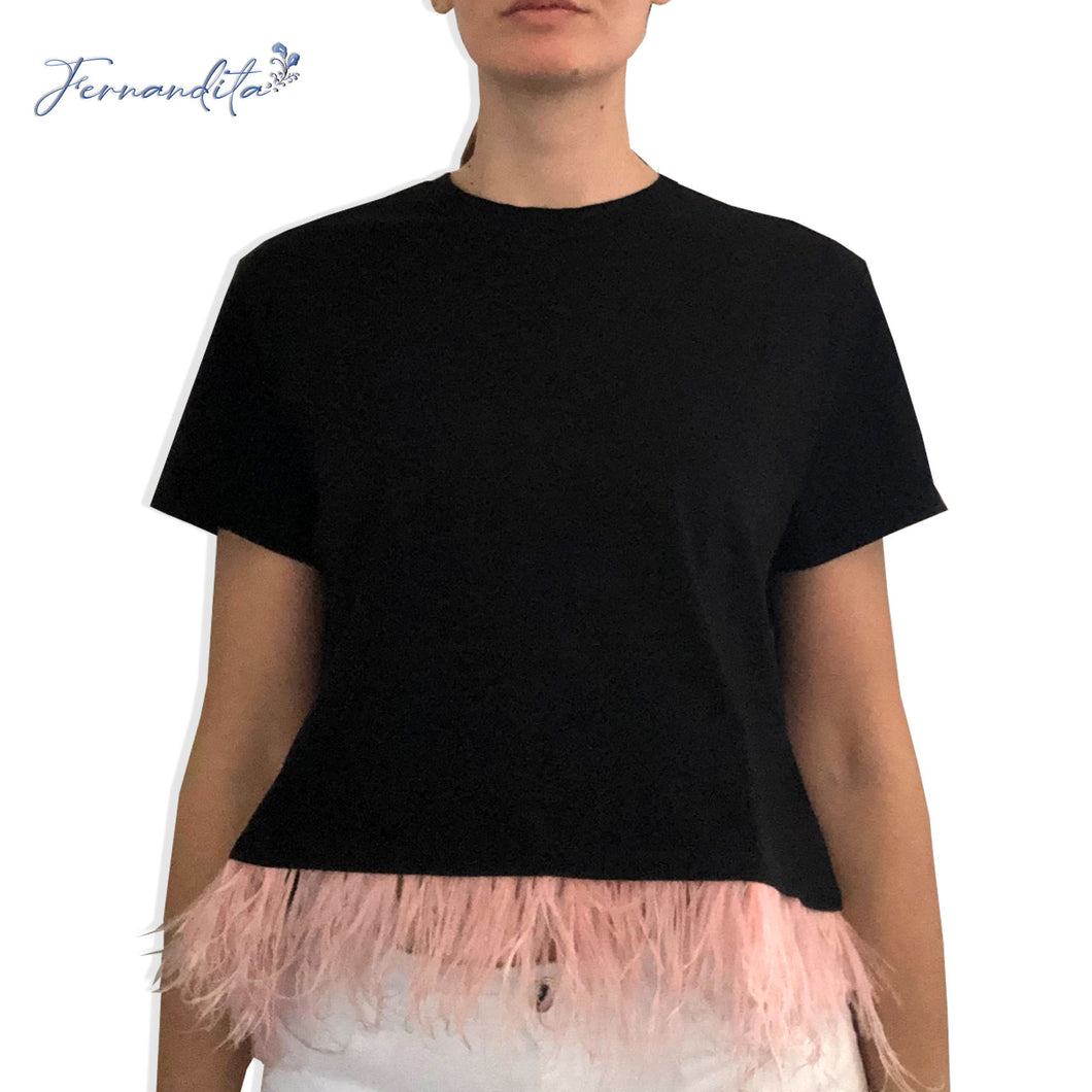 T-shirt cropped piume rosa