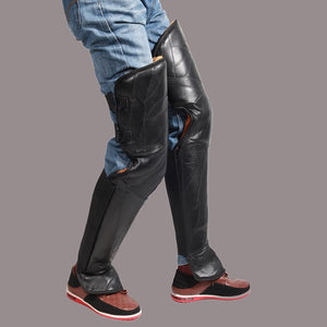 2 PCS Black Leather Biker Chaps For M & W - MotorsLova | We serve real products for real bikers !