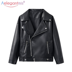Motorcycle Loose Faux Leather Jacket For Women - MotorsLova | We serve real products for real bikers !