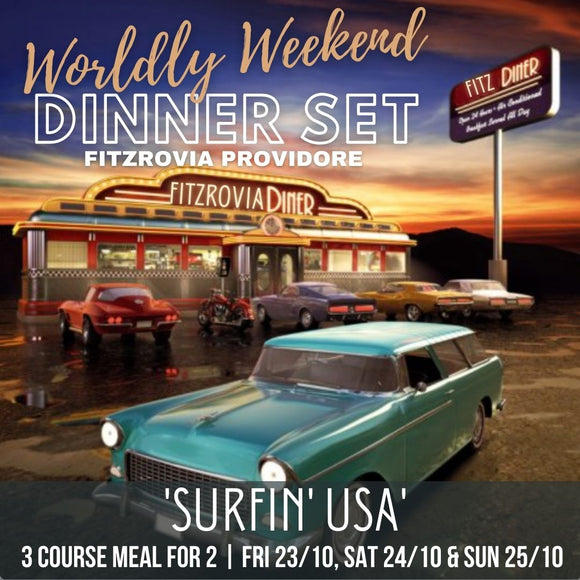 Worldly Weekend 'Surfin' USA' 3 Course Dinner Set for 2