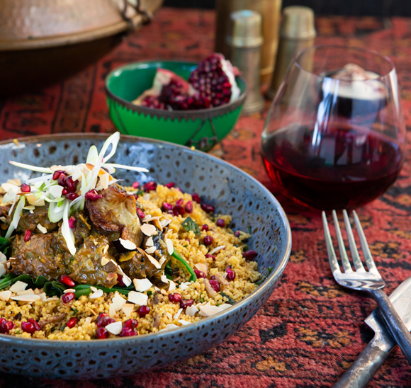 Moroccan Lamb & Eggplant Tagine w Roast Almonds & Prunes