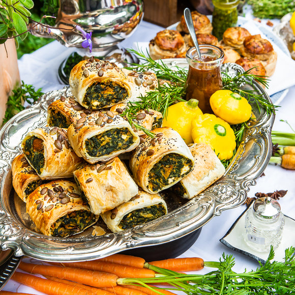Spinach, roast pumpkin & Persian feta sausage roll