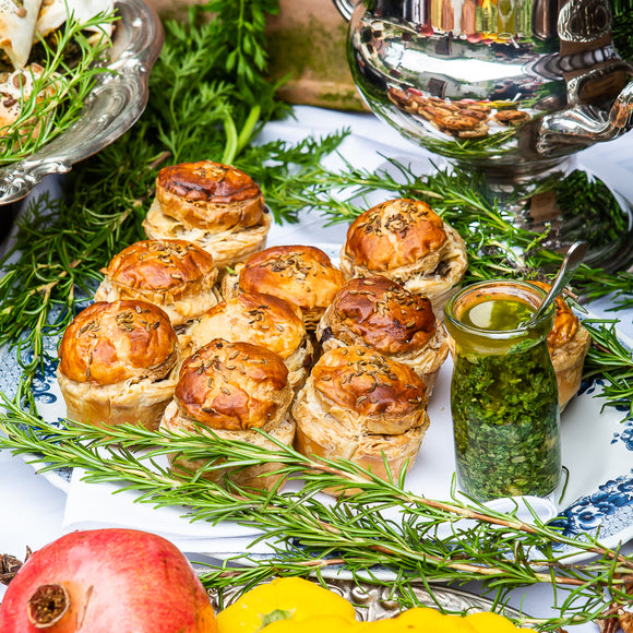 Kale, leek & thyme roast mushroom pies with salasa verde to dip