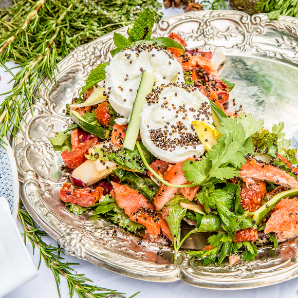 Smoked ocean trout & buffalo mozzarella salad