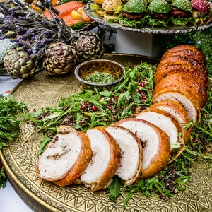 Thyme & garlic roast crispy skinned pork belly 'Porchetta'