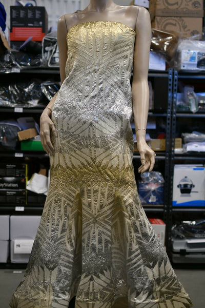 Badgley Mischka Couture Gold Silver Long Dress Prom Party Evening Gown Sz 10
