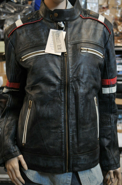 Real Leather Retro 2 Motorcycle Jacket Blue Striped Medium Riding Distressed