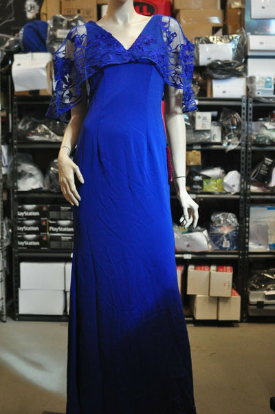NWT $440 Carmen Marc Valvo Infusion Blue Floral Off Shoulder Lace Gown Dress Sz 2