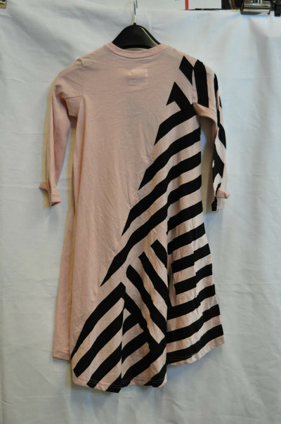 NWT Nununu Black Pink Striped Dress 4-5 Girls Cotton