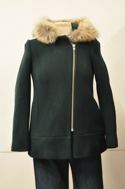 $950 Sandro Bouteill Coat Hunter Green Wool Blend Fur Hood Small FR 36