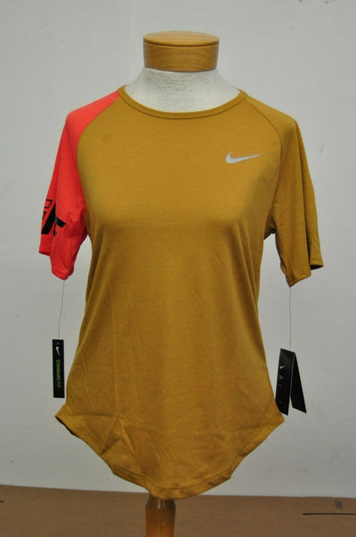 NWT $40 Nike Dri Fit Running Shirt Brown Pink Womens Small