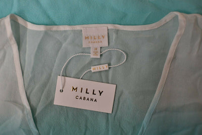 NWT Milly Cabana Ombre Island Tunic Top Medium Seafoam Green Silk