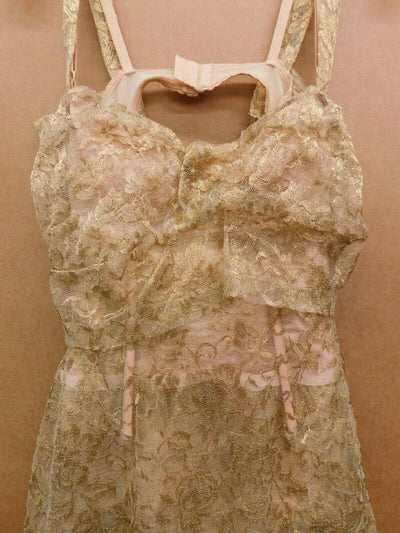 Dolce & Gabbana D&G Gold Metallic Lace Dress Short IT 42 US Medium