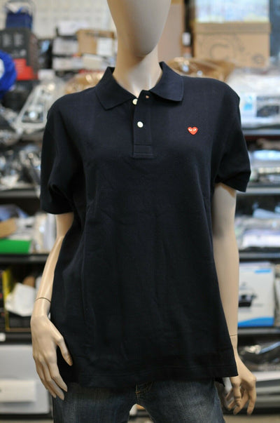 NWT Comme des Garcons Play Heart Navy Blue Polo Large Mens Japan