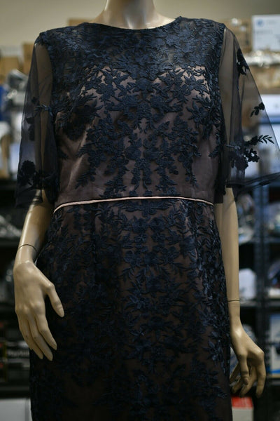 NWT JS Collection Navy Blue Embroidered Lace Shift Dress Size 12 Bridal Prom