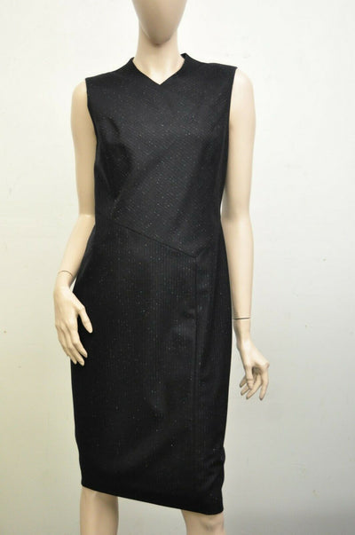 NWT $279 Classiques Entier Sleeveless Navy Blue Pinstripe Sheath Dress US 4
