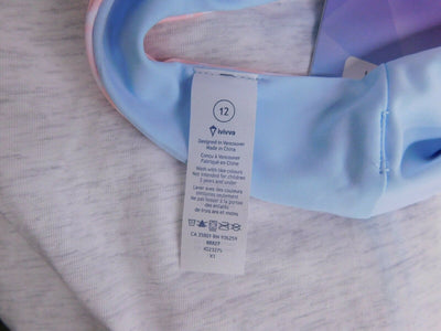 NWT Ivivva by Lululemon Coastal Tide Swim Top Pink Blue Size 12
