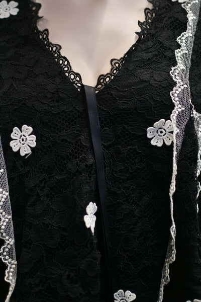 Alexis Black White Nylon Blouse Flowers Medium Lace Neiman Marcus