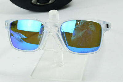 Display Model Oakley Latch Squared Clear Sapphire Irid Polarized MPH Sunglasses