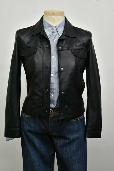 NWT Massimo Dutti Black Leather XS Snap Up Moto Jacket Riding Biker 4704