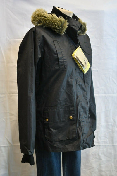 NWT Barbour Kelsall Black Parka Fur Hood Wax Cotton US 10 Womens Flyweight