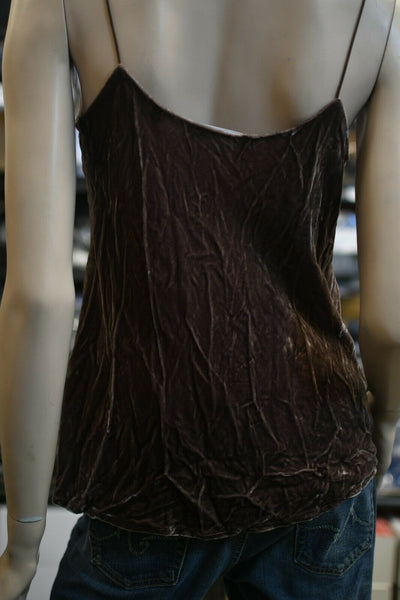 NWT Vince Velvet Tank Top Camisole Shirt Coco Bean Brown Silk Blend