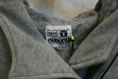 NWT Nununu Hooded Sweatshirt Gray Asymetrical 10-11 Cotton