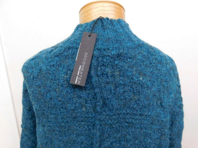 360 Sweater Italian Yarn Knit Mock Turtleneck Sweater Small Teal Green