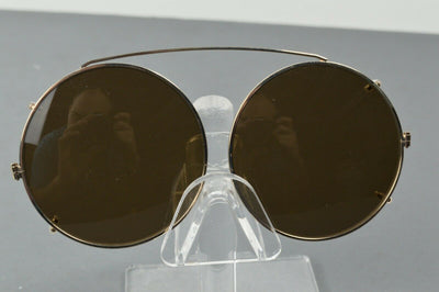 NEW Berkshire Chase Clip On Sunglasses Round Gold Black 54mm