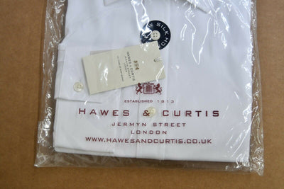 NWT Hawes & Curtis St James Slim Fit White Dress Shirt 18/37 Lux 2 Ply Cotton