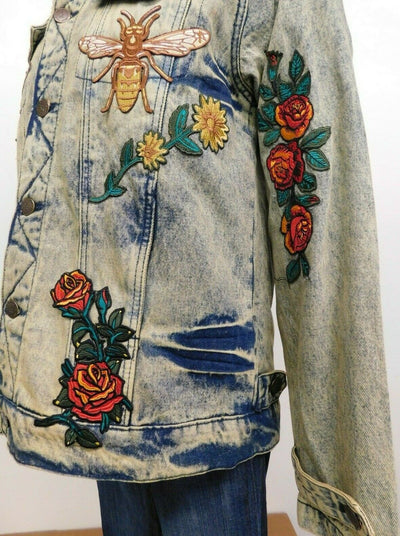NWT Reason NYC Sherpa Collar Jean Jacket Denim Large Patches Acid Wash