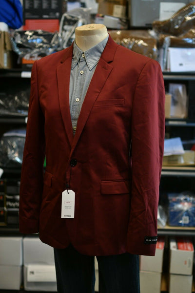 NWT $248 Express Blazer Burgundy 40R Extra Slim Stretch Wrinkle Resistant Cotton Blend