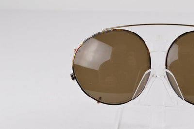 NEW Panto 55MM Brown Tortoise Gold Clip On Sunglasses